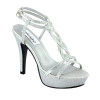 Silver prom shoes | Prom dresses | Prom shoes | Vivi by Dyeables 29613 Silver Platform Sandal | GownGarden.com