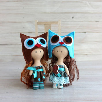 CHRISTMAS SALE. 20 % off Cloth Doll, rag doll, child friendly, Doll - owl, doll in brown turquoise dress, textile doll, doll with brown hair