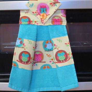 Kitchen Towel, Hanging Dish Towel, Tie Towel,Hanging Tea Towel, Hanging Hand Towel, Owl Dish Towel