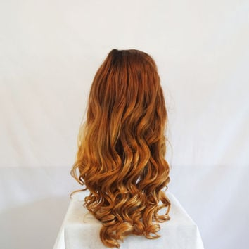 Synthetic Lace Front Wavy Brown/Copper Auburn Ombre Wig 22""