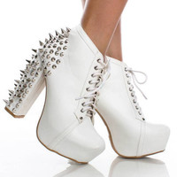 Spiked Studded White Heel Laced Ankle Boots  from CherryKreations21