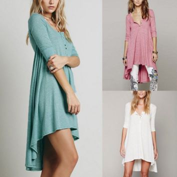Fashion sexy long sleeve blouse pure color casual dress