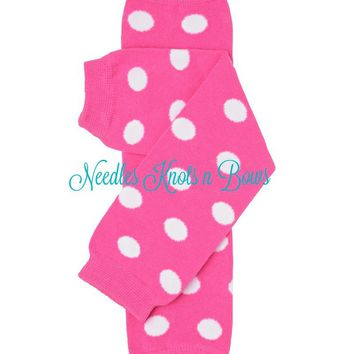Pink Polka Dot Legwarmers, Girls Pink Legwamers, Baby Girls, Newborns, Toddlers, Crawlers, Dance