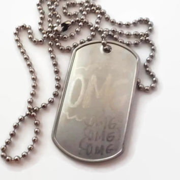 OMG Statement Necklace Engraved Typography Military Dog Tag Pendant Unisex Women Men His Hers Singles Couple Set Silver Steel Thought Bubble