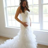 Wedding Gown with Lace Appliques and Ruffled Skirt - David's Bridal