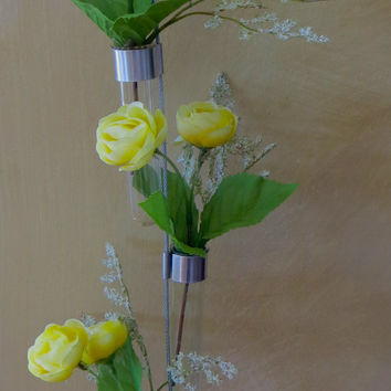 Hanging Glass Test Tube Vase with Yellow Peonies OOAK