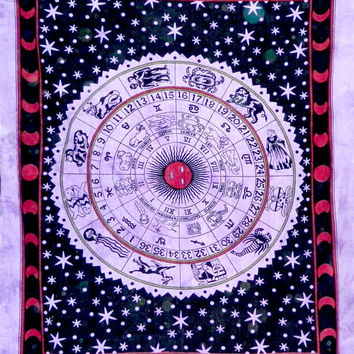 Black Tapestry Zodiac Tapestries Wall Hanging  Mandala Tapestries  Mandala Wall Art  Hippie Wall Hanging  Indian Tapestry  Bohemian Tapestry