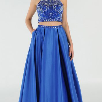 Royal Blue Two-Piece Long Prom Dress Satin Skirt with Pockets