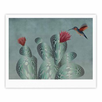 "Angelo Cerantola ""Hummingbird And Cactus"" Green Red Animals Floral Illustration Painting Fine Art Gallery Print"