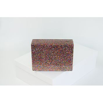 Rainbow Glitter Acrylic Box Clutch