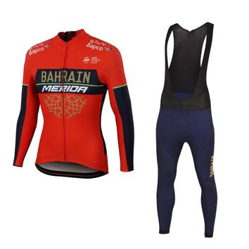 2018 winter thermal fleece pro team bahrain cycling jersey jacket sets warmer Ropa Ciclismo quick-dry MTB bike clothing GEL pad