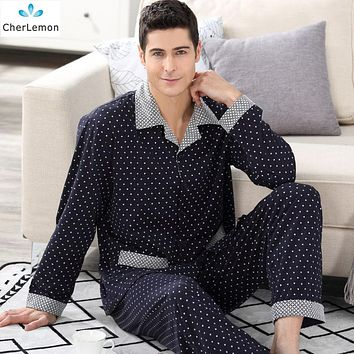 CherLemon Elegant Men's 100% Cotton Sleepwear Classic Polka Dot Male Pajamas Spring Autumn Long Sleeve Home Clothes M-4XL
