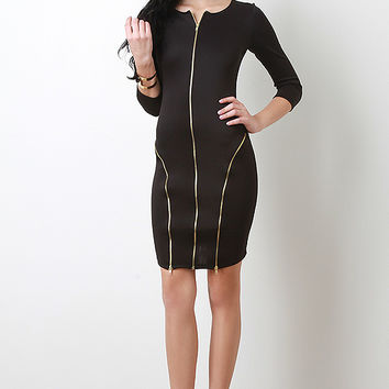 Triple Zip Bodycon Dress