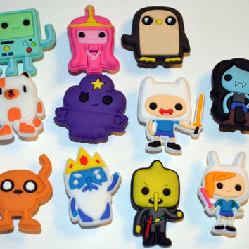 Like Adventure Time Inspired Shoe Charms Cake Toppers Birthday Party Pack, Locker Magnets, Zipper Pulls Hair Bows Kids gift (Set of 11)