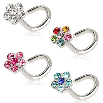 316L Surgical Steel Screw Nose Ring with Multi Glass/Gem Flower Top