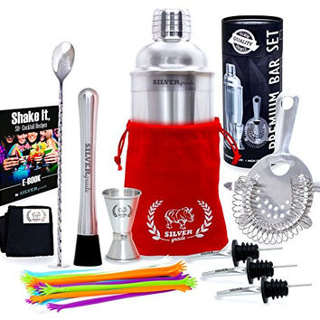 Premium Bar Set By SILVERgrade, Cocktail Shaker, Muddler, Strainer, Mixing Spoon, Double Jigger, Pourers, Stirrers and Over 50 Recipes (Pdf) - Martini Bar Set, Gift for men