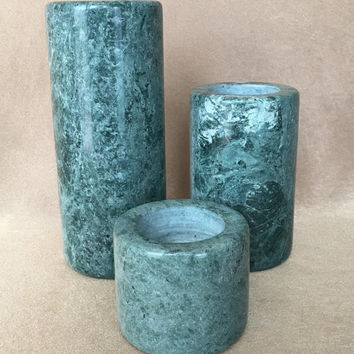 Marble Candle Holder, Green Marble, Set of 3, Natural Stone, Modern Style Marble, Votive or Taper, Natural Home Decor, Variegated Green