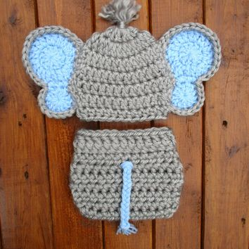 Crochet Elephant Baby Outfit Dallas Grey Newborn Photo Prop