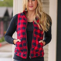 Buffalo Check Puffer Vest - Red