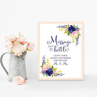 Message in a bottle sign printable, Message in a bottle guest book sign, Message in a bottle wedding guest book sign, Nautical beach wedding