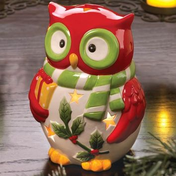 Holiday Hoot Owl Ceramic Candle Holder