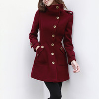 Wine Red Cashmere Coat Fitted Military Style Wool Winter Coat Women Coat Long Jacket - NC431