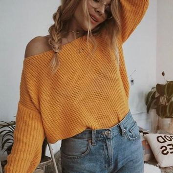 New Yellow V-neck One-Shoulder Lantern Sleeve Casual Oversized Slouchy Pullover Sweater