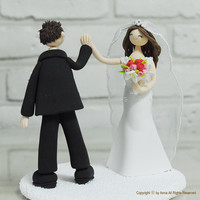 $150.00 Cute couple Wedding Cake topper  Decoration Keepsake by annacrafts