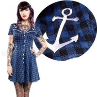 Sourpuss Western Check Style Anchor Dress