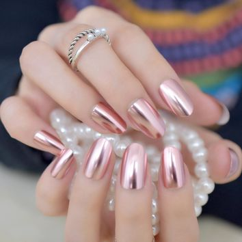 Matte Metal Nail Art Tips Light Pink Metallic Mirror Pre-designed Fake Nails Fairy Oval Beautiful Shiny Ladies Nails