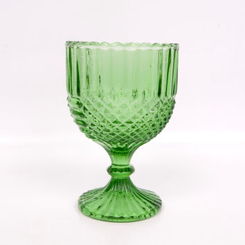 Vintage Green Glass Compote Diamond Rib Panel Candy Dish Vase Trinket Holder Stemmed Bowl Goblet Emerald Apothecary