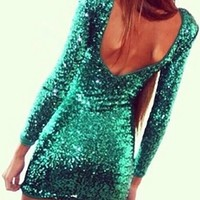 Green Metallic Sequin Sparkle Scoop Neck Low Back Long Sleeve Bodycon Mini Dress