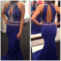 Royal Blue Shinny Mermaid Prom Dress Halter Satin Prom Dresses Long Sleeveless Beading Sashes Sweep Train Prom Dress Websites
