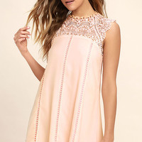 Hey Doll Blush Pink Lace Shift Dress