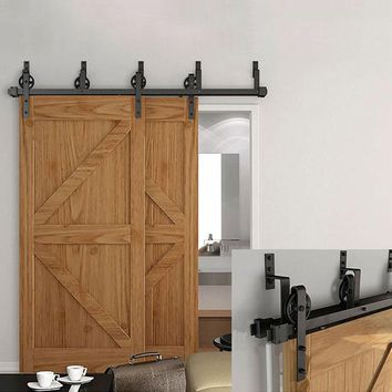 6FT/ 6.6FT /8FT/10FT  Stablest Spoke Wheel One Piece Bypass bracket Sliding Barn Wood Door Hardware