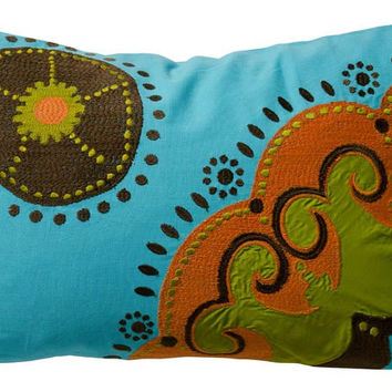 Koko Company Coptic Cotton 13 by 20 inches Pillow, Turquoise, Brown, Red, Lime