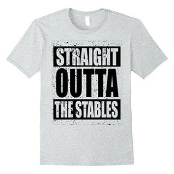 DCCKV2S Straight Outta The Stables Horse Riding Equestrian T Shirt Men Lastest Mens Tops Cool O Neck T-Shirt Top Tee Plus Size