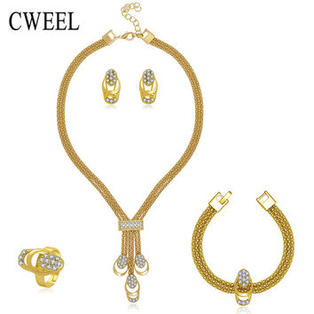 Jewelry Set For Women Gold Plated Beads Collar Necklace Earrings Bracelet Fine Rings Sets Party Costume Latest Fashion Trendy