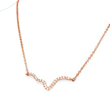 Abstract Heartbeat pave EKG Necklace