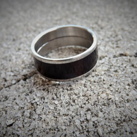 Men's size 11 stainless steel ring with macassar ebony wood inlay