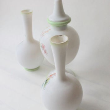 set of three white 1920 milk glass hand painted vases with a art nouveau style- mint green-  floral design-  Shabby Chic- hand painted