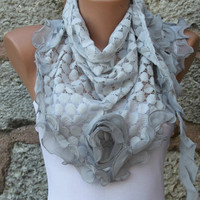 ON SALE - Gray Shawl Scarf -  Cowl Scarf - Lace Scarf - fatwoman