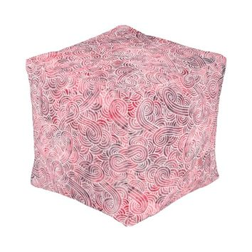 Cubed pouf - Red and white scrolls Cube Pouf