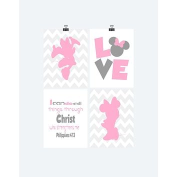 Minnie Mouse Christian Chevron Pink Nursery Set of 4 Prints, I Can Do All Things, Philippians 4:13