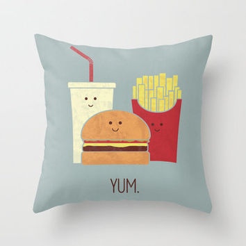 Fast Food Throw Pillow by Teo Zirinis