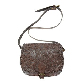 Ladies Genuine Brown Leather Custom Hand Tooled Floral Design Flap Saddle Bag