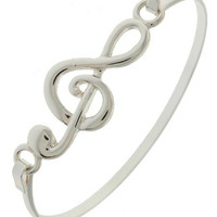 Treble Clef Fold Over Silver Bangle