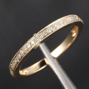 14K Yellow Gold Wedding Band Milgrain Diamond Band, HALF Eternity Band Anniversary Ring,  Same Day US Shipping