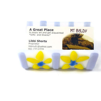 Fused Glass Business Card Holder White and Lavender Stripes and Yellow Daisies 214