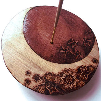 Star and Moon Incense holder, carved wood, Pyrography art. Incense burner, Moon decor,ash catcher, hippie, altar incense, pagan, wicca, UK